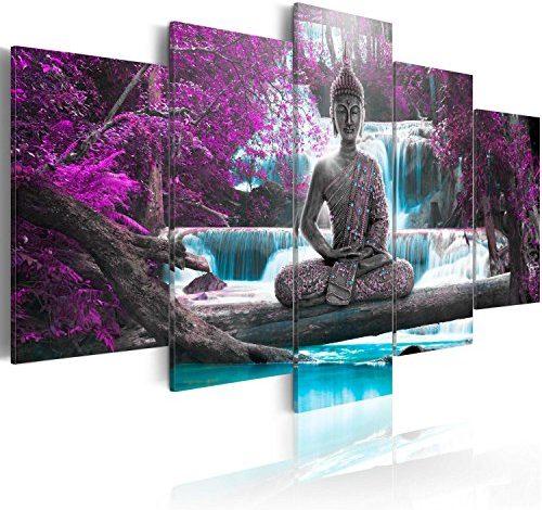 Cuadros lienzo XXL decoracion pared foto impresión Bosque Cascada c-A-0004-b-a